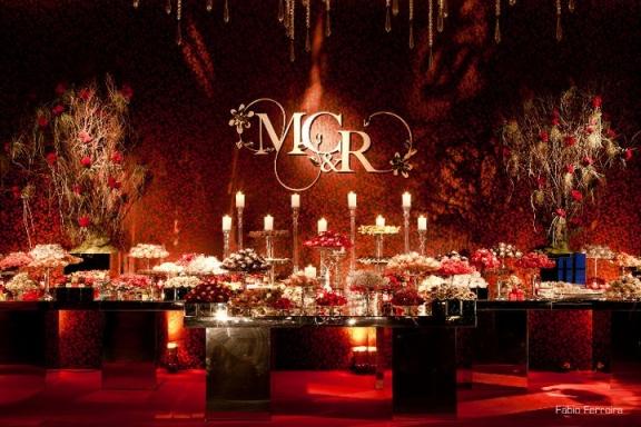 decoracao casamento vermelho e dourado